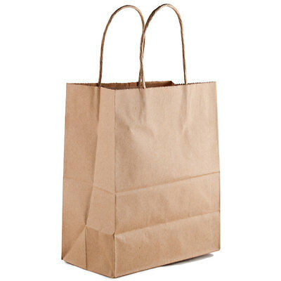100 Retail Paper Shopping Bag 8x5x10 KRAFT with Rope Handle Plain Natural