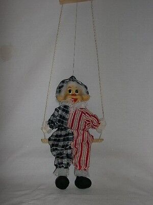 Vintage  Marionette   Clown On A Swing