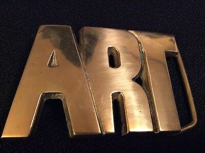 """ART"" Cut Out Solid Brass Name Baron Belt Buckle Vintage 70's Deco 3D 4397"