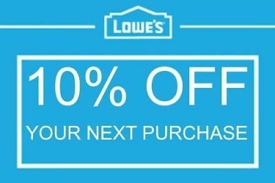Lowes 10% off Total LOWE'S Discount Code Online Only Quick Delivery EXP 1/31