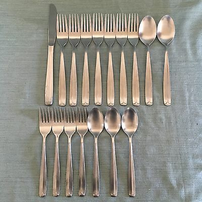 17Pc United Silver Co Stainless Flatware Mid-Century Modern Tipped  USI 41