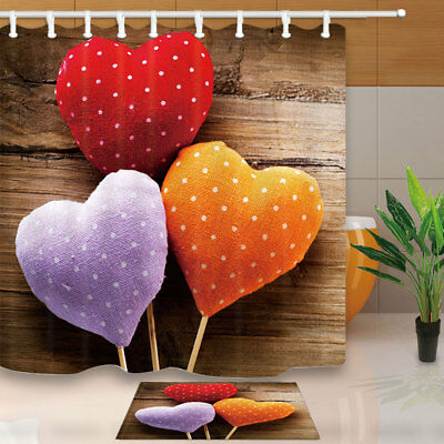 Colorful Heart For Valentine's Day Bathroom Shower Curtain Set Fabric 71 Inches