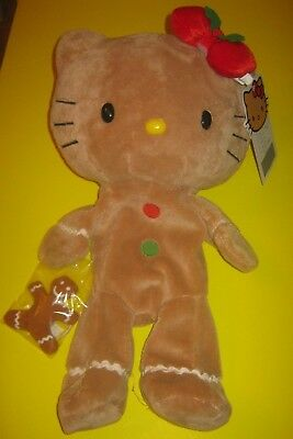 Used Build-A-Bear 18in Hello Kitty GINGERBREAD with Christmas Bow and Cookie Man