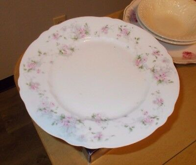 "Vtg Imperial China Vienna Austria Scalloped 8 5/8"" Salad Plate Pink Roses Vines"