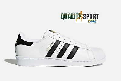 detailing 1fdad 1a1d6 Adidas Superstar Bianco Nero Scarpe Uomo Shoes Sportive Sneakers C77124 2019
