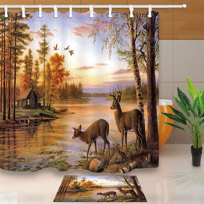 Whitetail Deer in Woods River Bathroom Fabric Shower Curtain & 12 Hooks 71 Inch