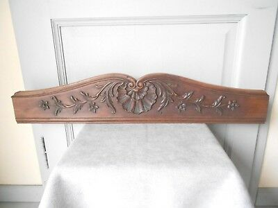 Antique French wood PLAQUE PEDIMENT PANEL Board / 29ins