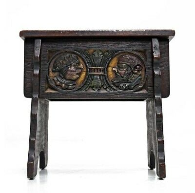 Antique19th Century Joint-Stool Carved with Portrait Medallions