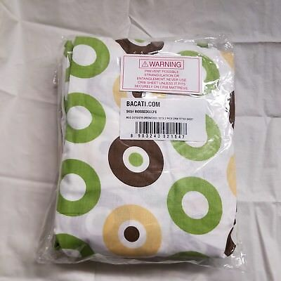 2-Pack Bacati Crib Fitted Sheets, Mod Dots Green/Yellow/Chocolate 100% Cotton