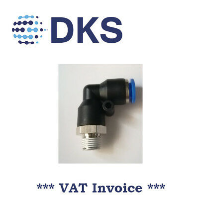 Elbow Stud Push In Fit Pneumatic Fittings Air 1/8 BSPT to 8mm Fitting  000643