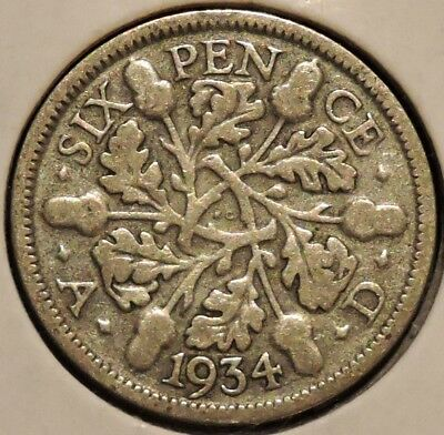 British Silver Sixpence - 1934 - King George V - $1 Unlimited Shipping