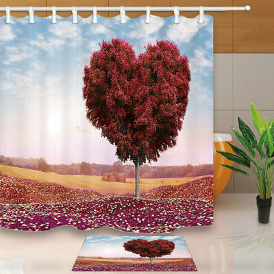 Heart-shaped Red-leaf Tree Bathroom Shower Curtain Set Fabric & Hook 71 Inch
