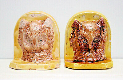 A Charming Antique Pair of Ceramic Owl Bookends, Glazed Earthenware