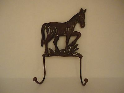 Country Brown Cast Iron Horse Coat/hat Wall Hanger Double Hooks