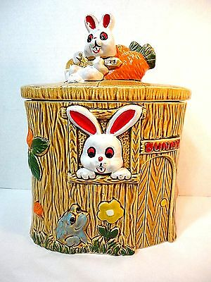 Vintage Rabbit/Bunny Small Cookie Jar National Silver Co. Made in Japan