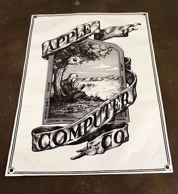 Apple computer laptop tablet company poster logo first banner sign white B186