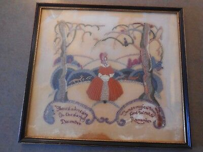 Primitive embroidery on velvet late  19th or early  20th century
