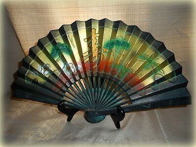 Antique Large Cast Iron Asian Colorful Decorative Fan Wall Hanging