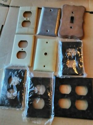 9 Light Switch Plate Covers Vintage Bakelite Steel wood USA leviton slater