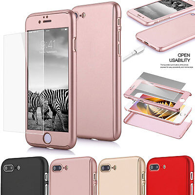 For iPhone 7 Plus Hybrid 360°Full Body Armor with Tempered Glass Hard Case Cover