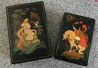 Lot Of 2 Vintage Russian Fairy Tale Laquer Boxes. Signed. Ivan.