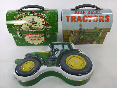 John Deer 2 Lunchboxes and 1 Tin Lot Tractors