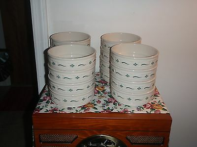 1Longaberger Pottery STACKABLE Woven Traditions Heritage Green SOUP CEREAL bowl