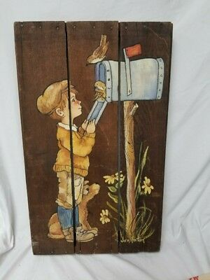 Vintage beautiful art design hand painted on  Wooden Panels signed by artist
