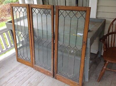 Set Of 3 Leaded Glass Bookcase Doors