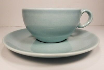 Vintage Iroquois Casual China by Russel Wright Ice Blue Turquoise Cup Saucer