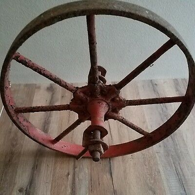 "8 Spoke 16"" Antique Metal Wheelbarrow Wheel Fancy Hub Steampunk Chandelier"