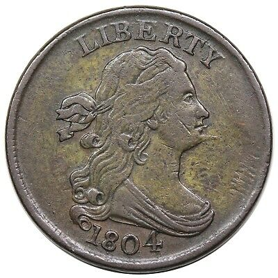 1804 Draped Bust Half Cent, Spiked Chin, C-6, LDS, Manley 12.0, nice VF-XF