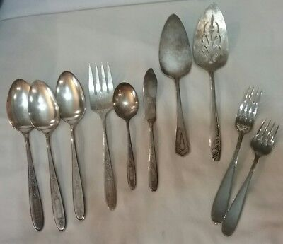 Vintage Mixed Lot of 10 Pieces Flatware Silverplate & Stainless