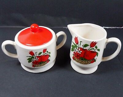 Vintage White Red Apple Flowers Creamer Pitcher and Sugar Bowl Set Made in Japan