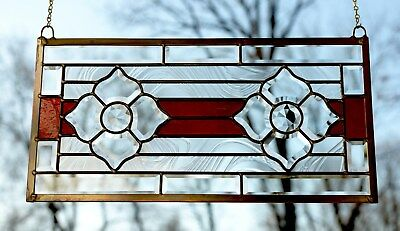 """Handcrafted stained glass Red Clear Beveled Flowers window panel , 22"""" x 11"""""""