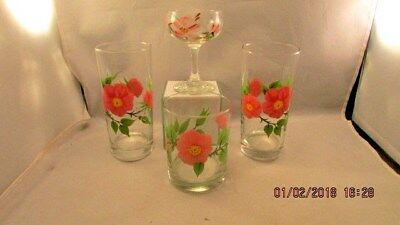 Franciscan Ware Desert Rose lot of 2 Water Glasses, 1 Champagne, 1 cocktail
