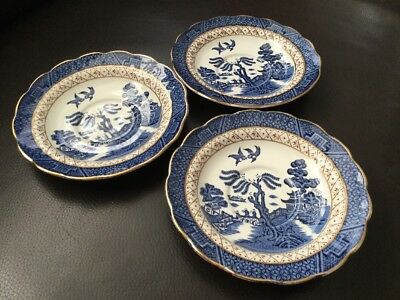 Booths Real Old Willow A8025  3x Saucers V Good Condition