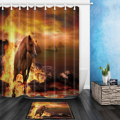 Horse Burned At Seaside Bathroom Shower Curtain Set Fabric & Hooks 71 Inches