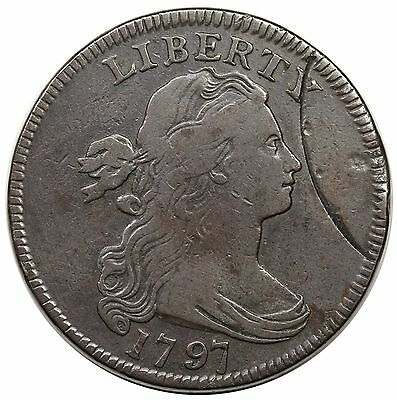 1797 Draped Bust Large Cent, S-136, R.3, planchet cutter impressions, F-VF
