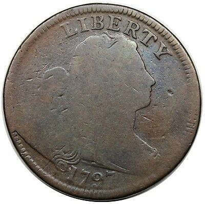 1797 Draped Bust Large Cent, Reverse of '97, Stems, S-139, LDS, AG-G