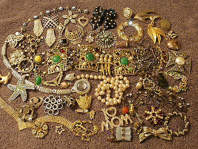 All Vintage All Rhinestone Jewelry Lot For Repair Craft Harvest  2 Lbs   A