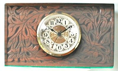 Hand Carved Decorated Mantel Clock One of a kind Collectable Solid Walnut