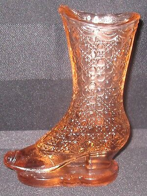"""1886-1902 Findlay Glass 5"""" Boot Bouquet Holder in Pink/Amber Excellent Condition"""