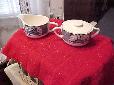 Vintage Currier And Ives Sugar Bowl With Lid And Creamer