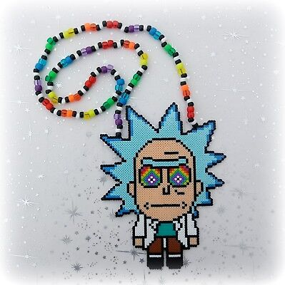 """7"""" Rick and Morty Normal or Trippy Eyes Mini Perler Bead Kandi Rave Necklace"""