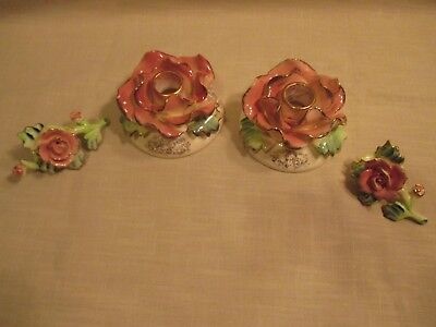 2 Vintage Commodore Japan Flower Candle Holders with 2 Napkin Rings
