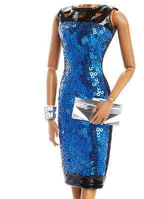The Look Barbie Night Out blue sequin Dress with black leather trim