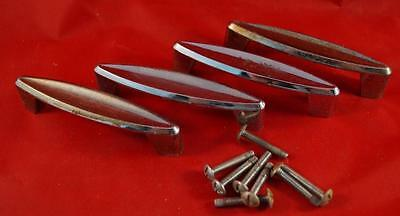 Vintage Set of 4 Metal Drawer Handle Pulls w/ Hardware