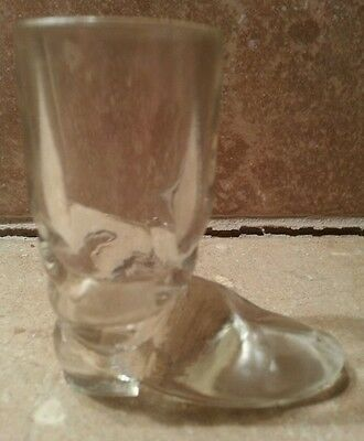 Clear Pressed Glass Boot Toothpick Holder - Marked