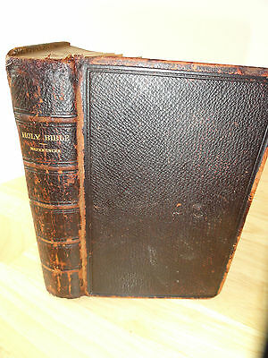 1866 - The Holy Bible, OXFORD, Full Leather hard cover, Rare, Antique